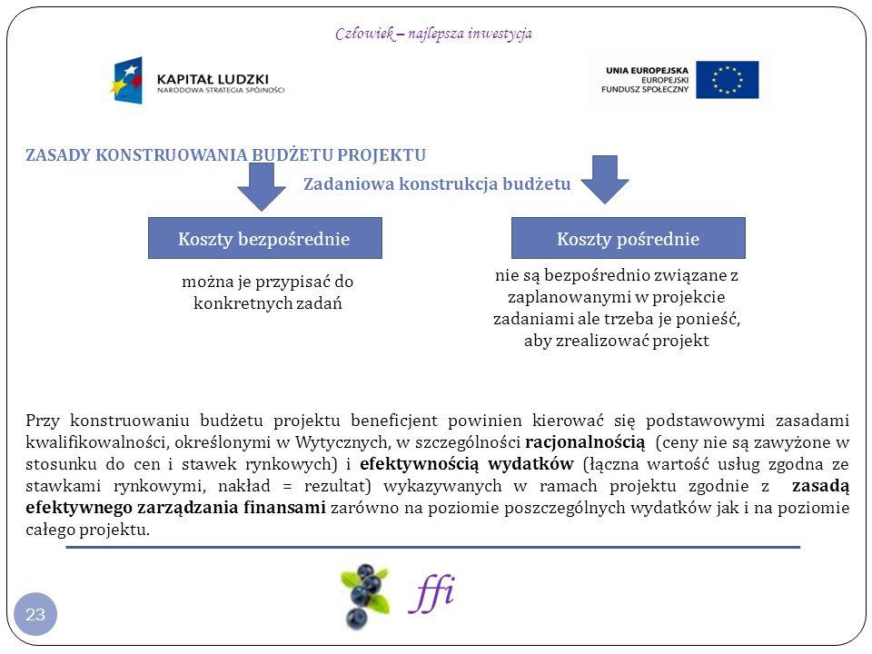 23 ZASADY KONSTRUOWANIA BUDŻETU PROJEKTU Zadaniowa konstrukcja budżetu Przy konstruowaniu budżetu projektu beneficjent powinien kierować się podstawow