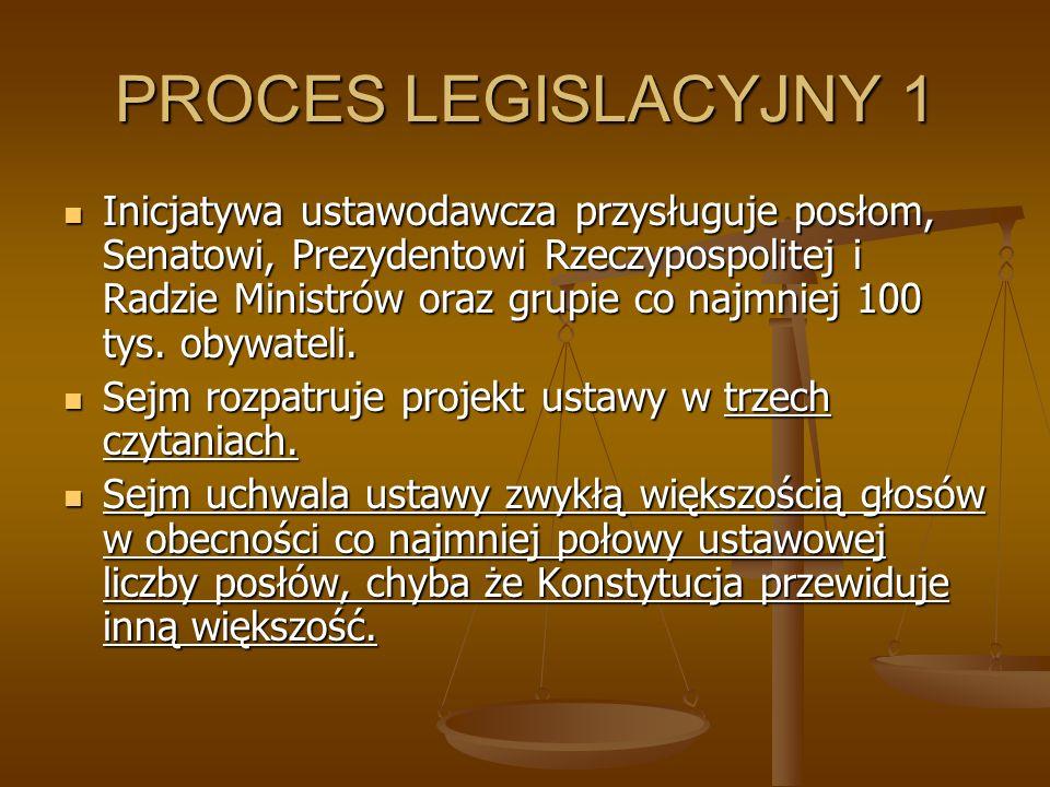 PROCES LEGISLACYJNY 1 Inicjatywa ustawodawcza przysługuje posłom, Senatowi, Prezydentowi Rzeczypospolitej i Radzie Ministrów oraz grupie co najmniej 1