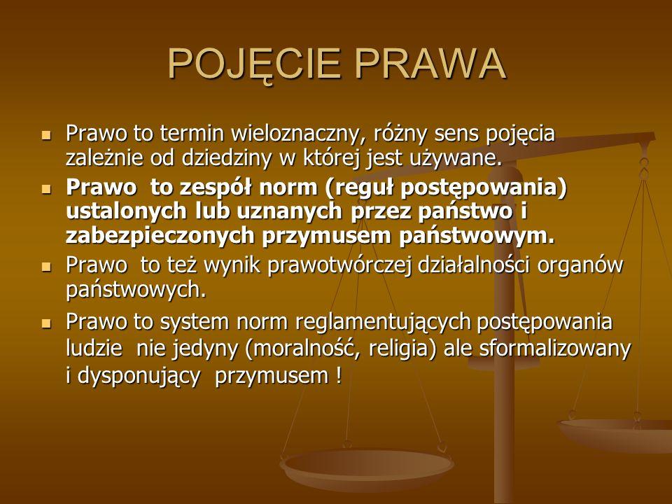 POJĘCIE PRAWA Prawo to termin wieloznaczny, różny sens pojęcia zależnie od dziedziny w której jest używane. Prawo to termin wieloznaczny, różny sens p