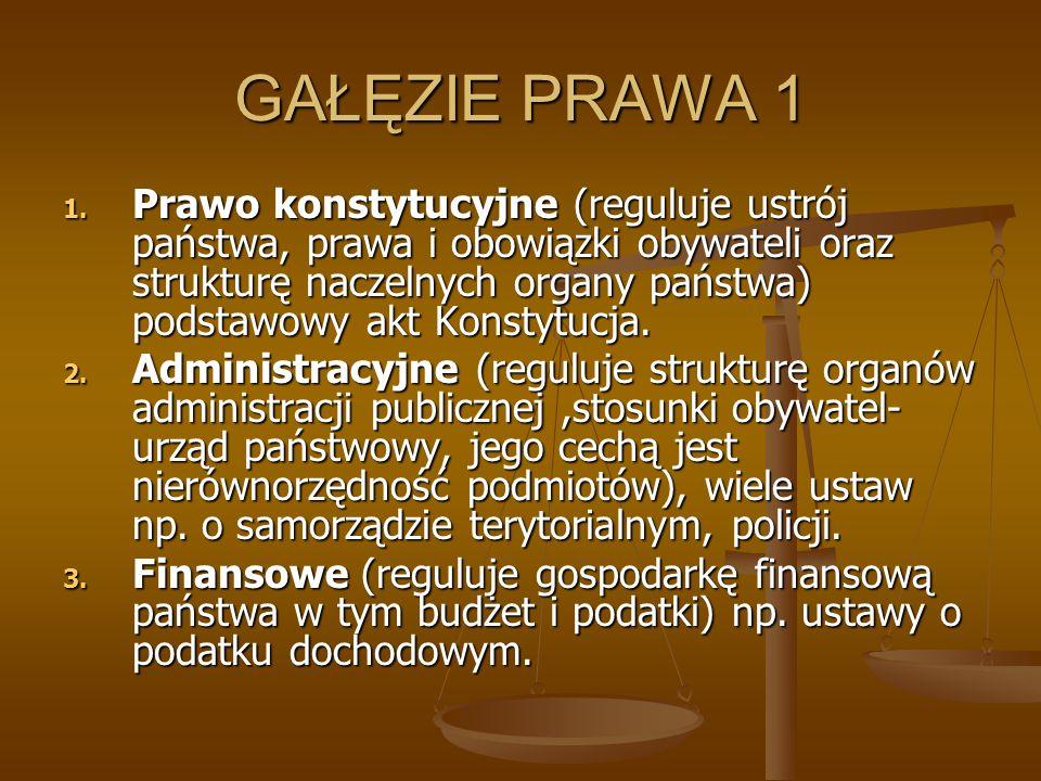 GAŁĘZIE PRAWA 1 1. Prawo konstytucyjne (reguluje ustrój państwa, prawa i obowiązki obywateli oraz strukturę naczelnych organy państwa) podstawowy akt