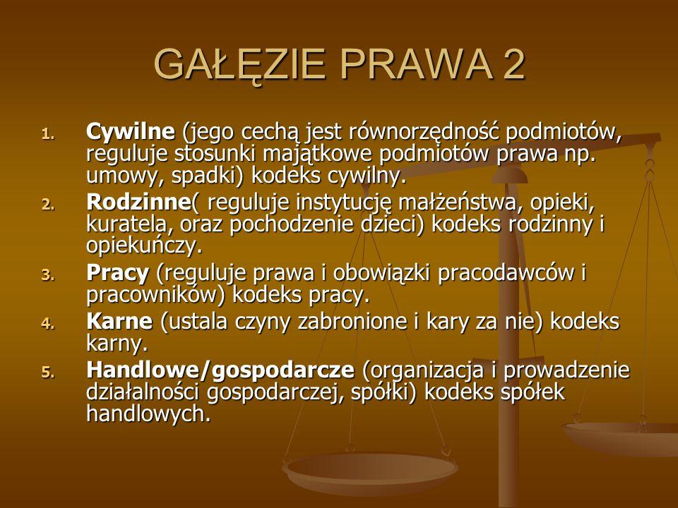 GAŁĘZIE PRAWA 2 1. Cywilne (jego cechą jest równorzędność podmiotów, reguluje stosunki majątkowe podmiotów prawa np. umowy, spadki) kodeks cywilny. 2.