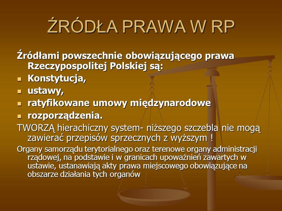 ŹRÓDŁA PRAWA W RP Źródłami powszechnie obowiązującego prawa Rzeczypospolitej Polskiej są: Konstytucja, Konstytucja, ustawy, ustawy, ratyfikowane umowy