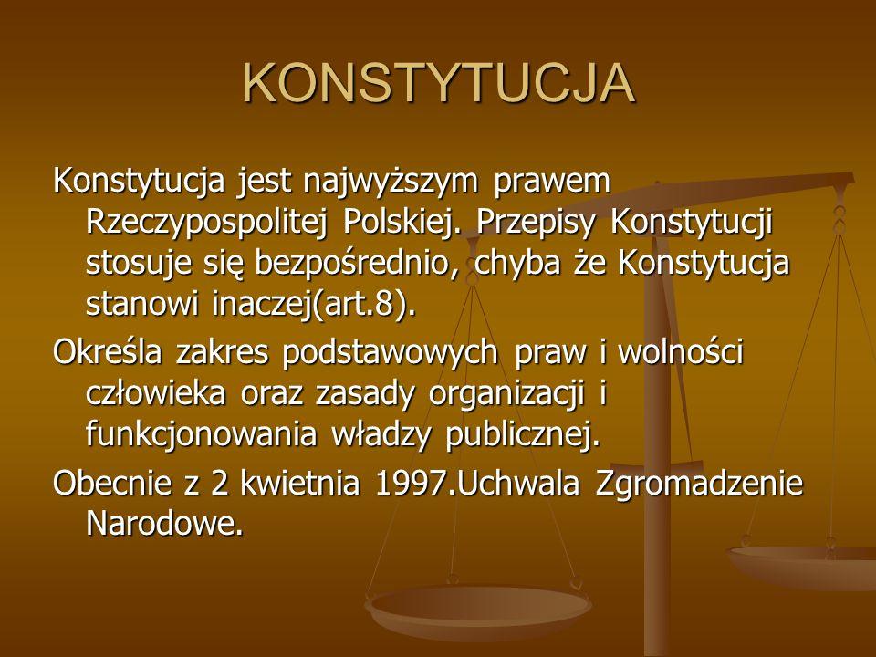 KONSTYTUCJA Konstytucja jest najwyższym prawem Rzeczypospolitej Polskiej. Przepisy Konstytucji stosuje się bezpośrednio, chyba że Konstytucja stanowi
