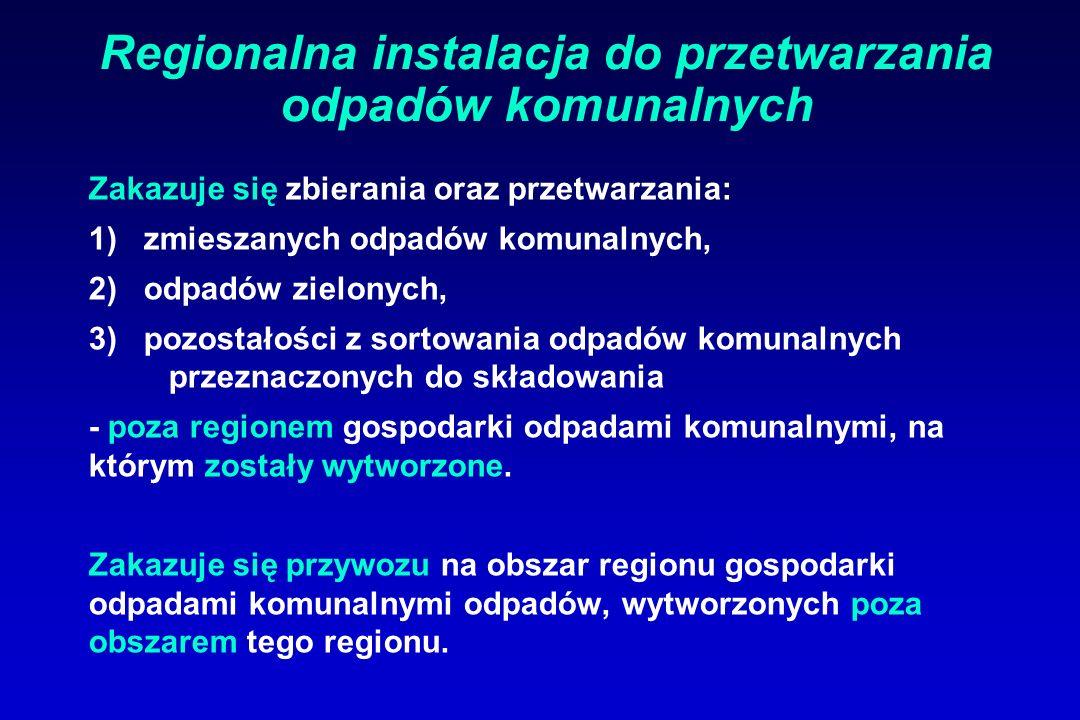 Regionalna instalacja do przetwarzania odpadów komunalnych Zakazuje się zbierania oraz przetwarzania: 1) zmieszanych odpadów komunalnych, 2) odpadów z