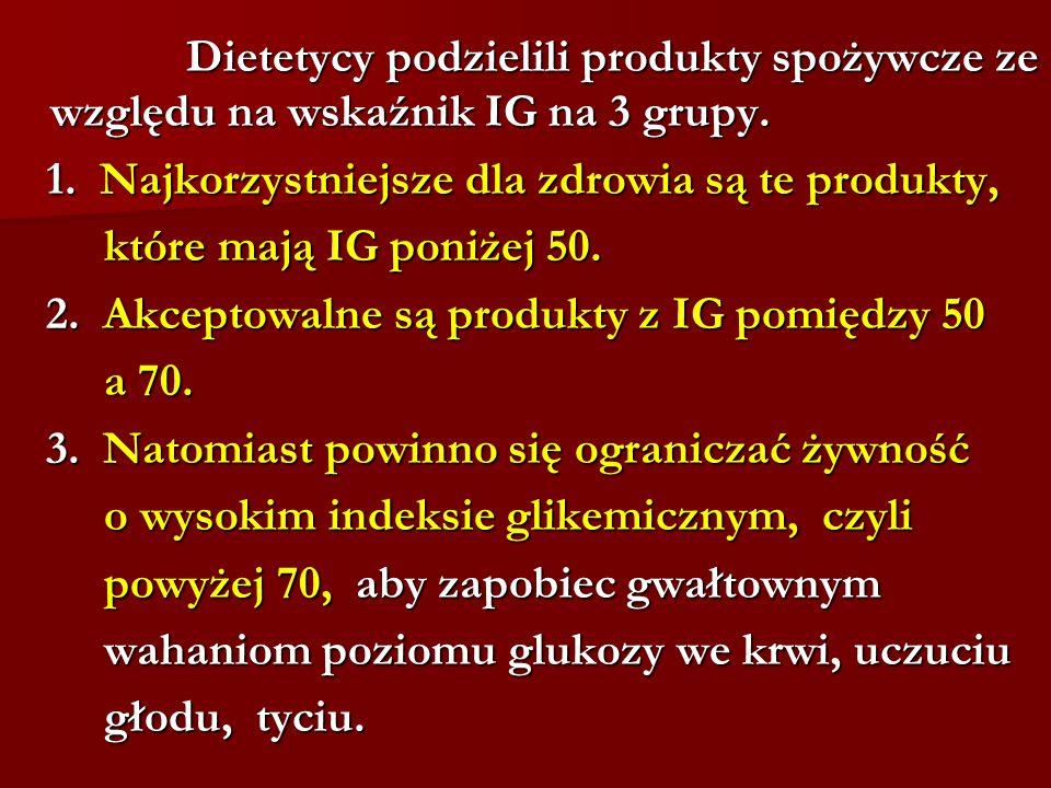 Dietetycy podzielili produkty spożywcze ze względu na wskaźnik IG na 3 grupy. Dietetycy podzielili produkty spożywcze ze względu na wskaźnik IG na 3 g