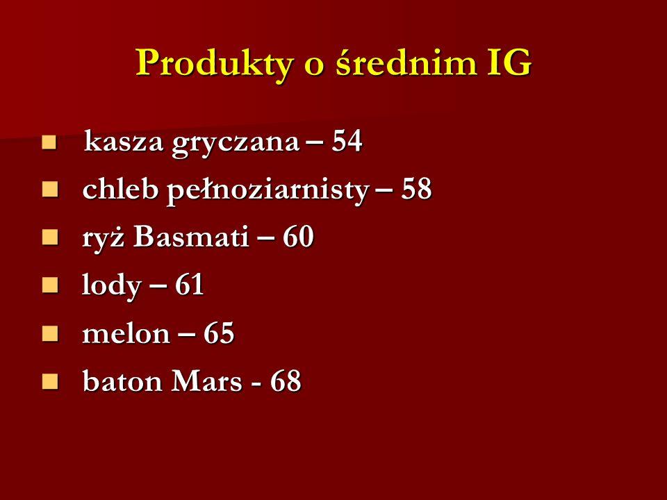 Produkty o średnim IG kasza gryczana – 54 kasza gryczana – 54 chleb pełnoziarnisty – 58 chleb pełnoziarnisty – 58 ryż Basmati – 60 ryż Basmati – 60 lo