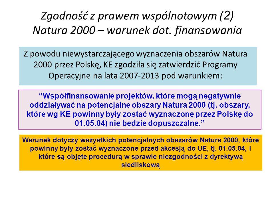 Zgodność z prawem wspólnotowym ( 2 ) Natura 2000 – warunek dot. finansowania Z powodu niewystarczającego wyznaczenia obszarów Natura 2000 przez Polskę