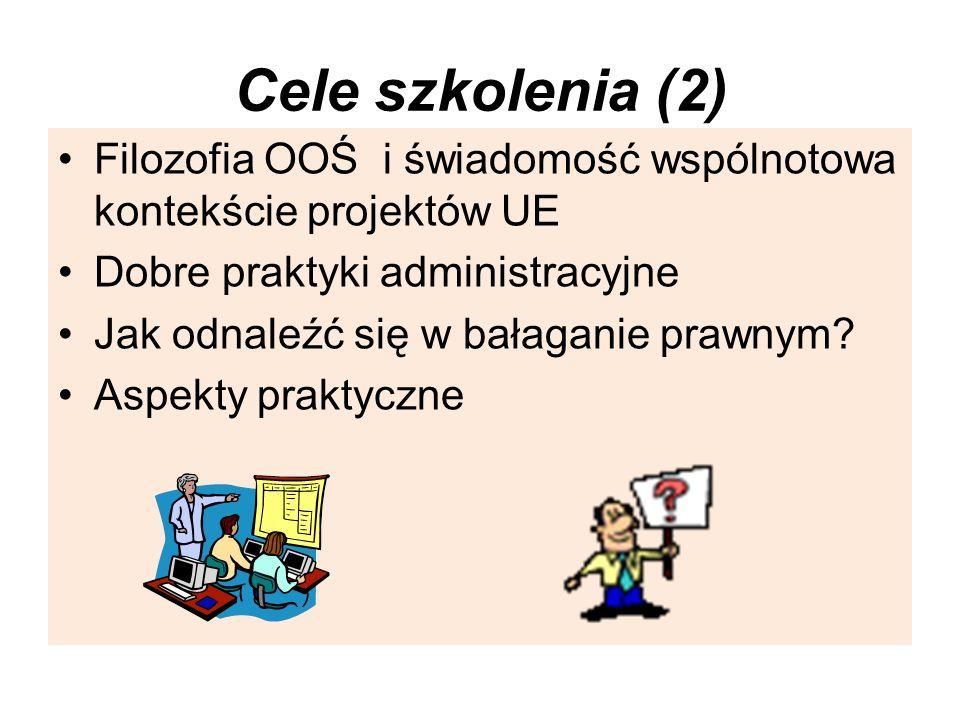 Cele szkolenia (2) Filozofia OOŚ i świadomość wspólnotowa kontekście projektów UE Dobre praktyki administracyjne Jak odnaleźć się w bałaganie prawnym?