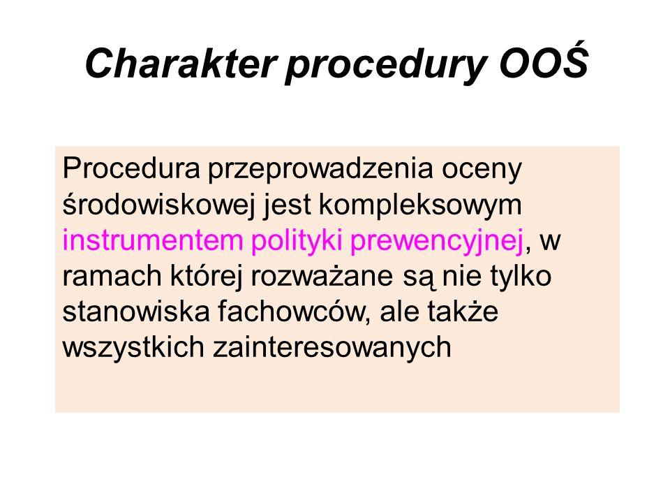 Charakter procedury OOŚ Procedura przeprowadzenia oceny środowiskowej jest kompleksowym instrumentem polityki prewencyjnej, w ramach której rozważane