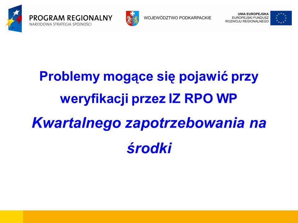 Problemy mogące się pojawić przy weryfikacji przez IZ RPO WP Kwartalnego zapotrzebowania na środki