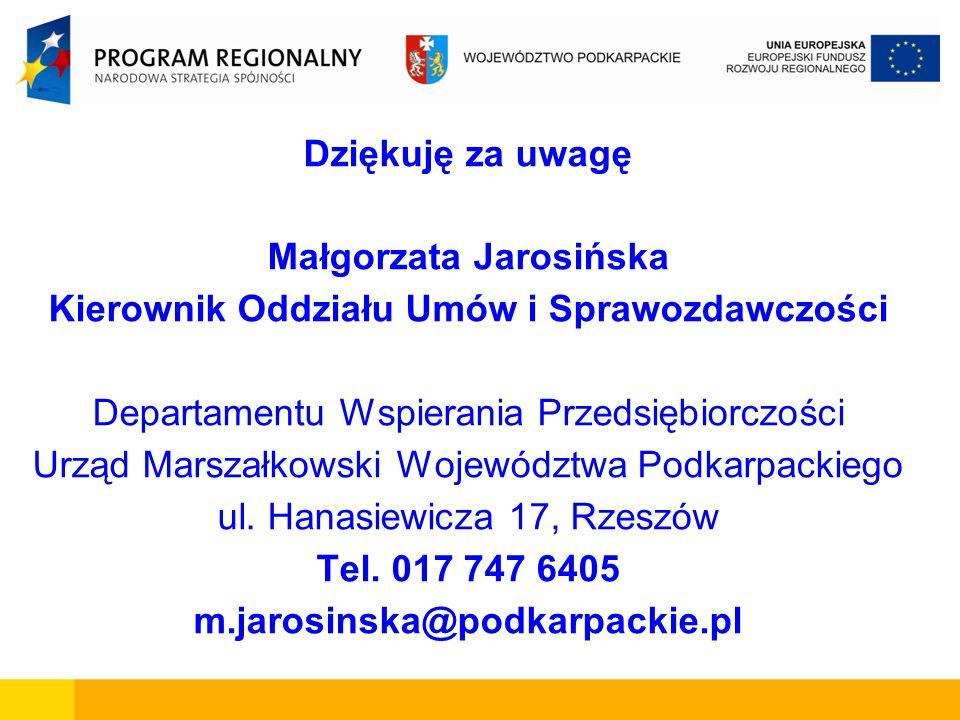 Dziękuję za uwagę Małgorzata Jarosińska Kierownik Oddziału Umów i Sprawozdawczości Departamentu Wspierania Przedsiębiorczości Urząd Marszałkowski Woje