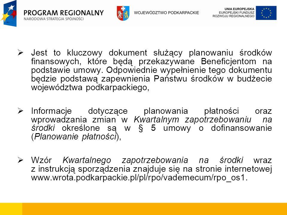 Jest to kluczowy dokument służący planowaniu środków finansowych, które będą przekazywane Beneficjentom na podstawie umowy. Odpowiednie wypełnienie te