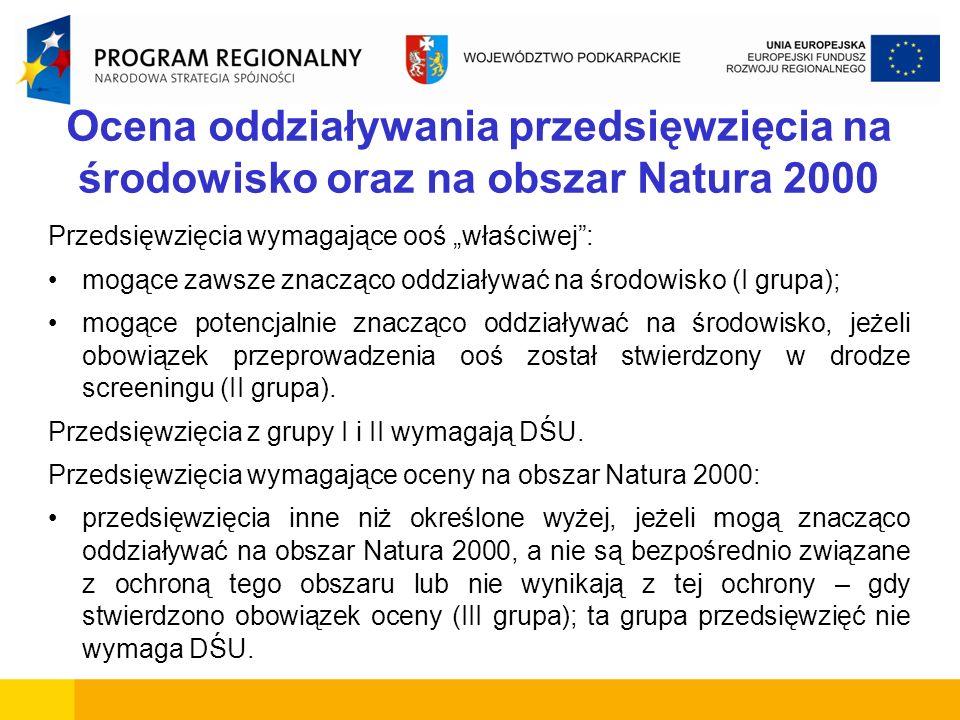 Ocena oddziaływania przedsięwzięcia na środowisko oraz na obszar Natura 2000 Przedsięwzięcia wymagające ooś właściwej: mogące zawsze znacząco oddziały