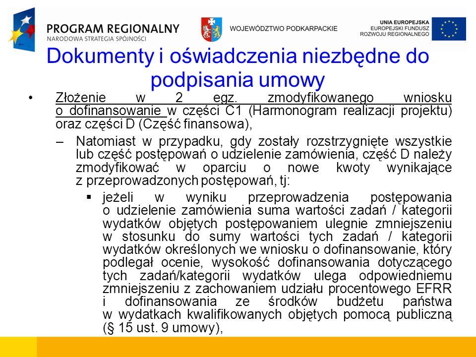 Dokumenty i oświadczenia niezbędne do podpisania umowy Złożenie w 2 egz. zmodyfikowanego wniosku o dofinansowanie w części C1 (Harmonogram realizacji