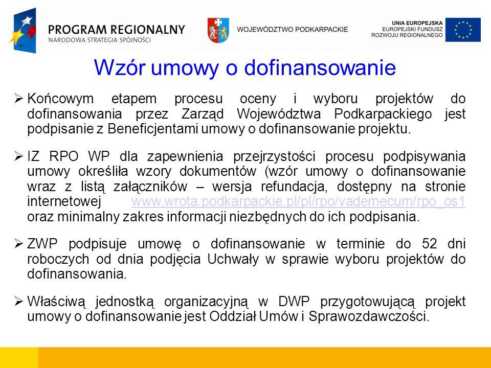 Wzór umowy o dofinansowanie Końcowym etapem procesu oceny i wyboru projektów do dofinansowania przez Zarząd Województwa Podkarpackiego jest podpisanie