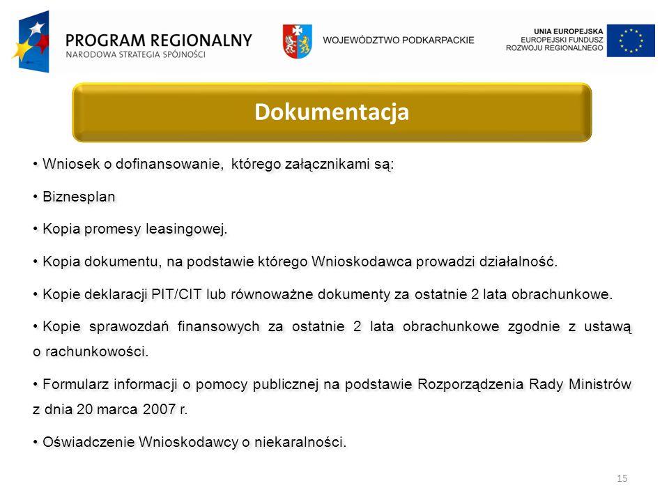 15 Dokumentacja Wniosek o dofinansowanie, którego załącznikami są: Biznesplan Kopia promesy leasingowej.