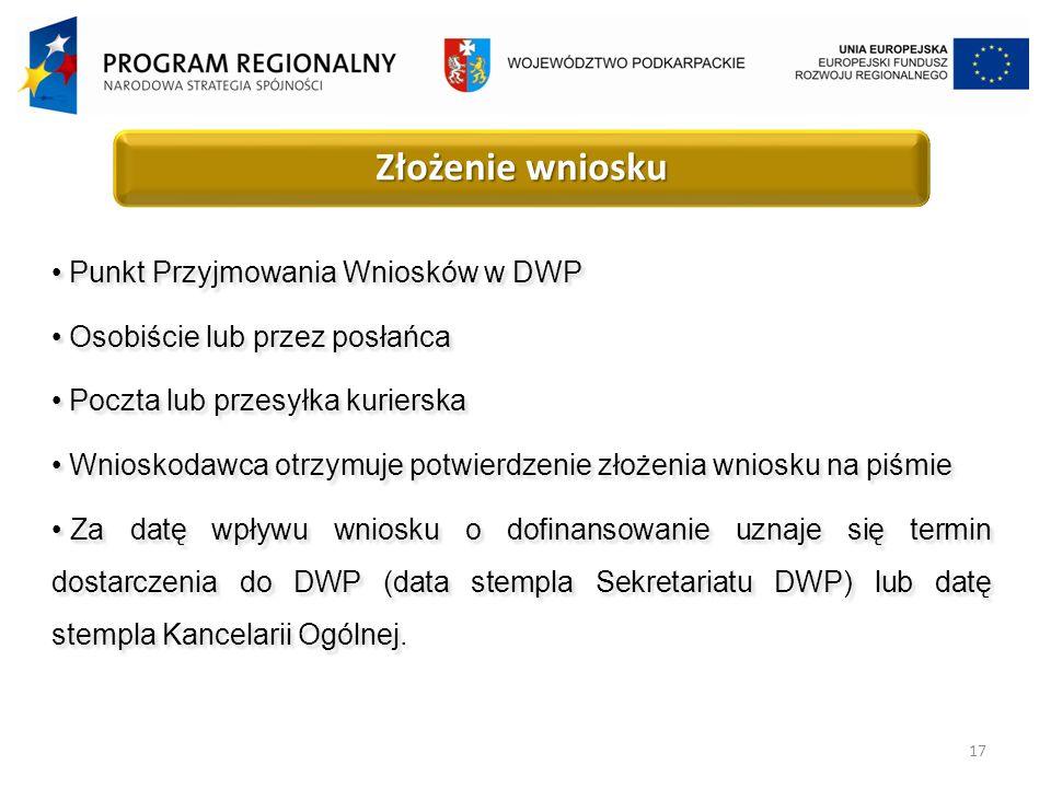 17 Złożenie wniosku Punkt Przyjmowania Wniosków w DWP Osobiście lub przez posłańca Poczta lub przesyłka kurierska Wnioskodawca otrzymuje potwierdzenie złożenia wniosku na piśmie Za datę wpływu wniosku o dofinansowanie uznaje się termin dostarczenia do DWP (data stempla Sekretariatu DWP) lub datę stempla Kancelarii Ogólnej.