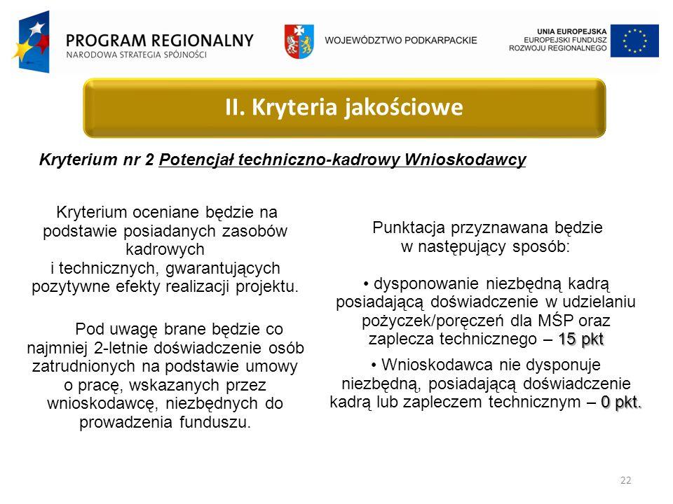 22 Kryterium nr 2 Potencjał techniczno-kadrowy Wnioskodawcy II.
