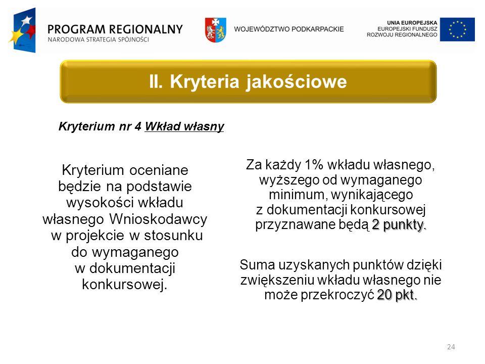 24 Kryterium nr 4 Wkład własny Kryterium oceniane będzie na podstawie wysokości wkładu własnego Wnioskodawcy w projekcie w stosunku do wymaganego w dokumentacji konkursowej.