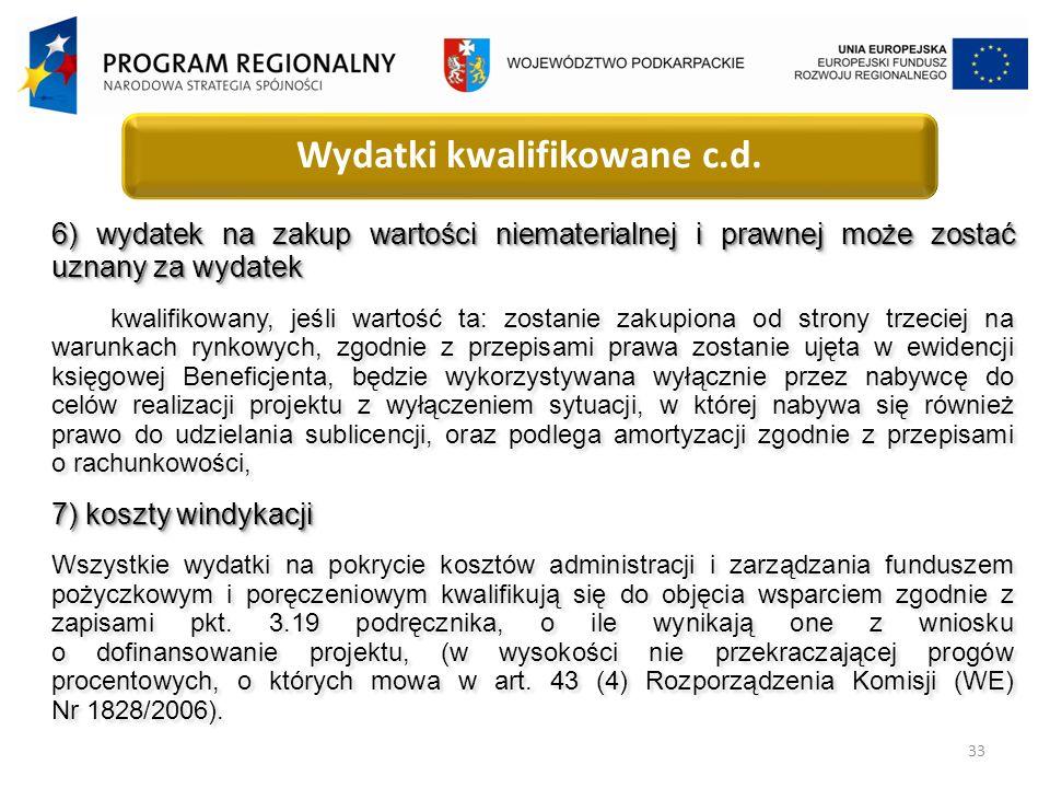 33 Wydatki kwalifikowane c.d.