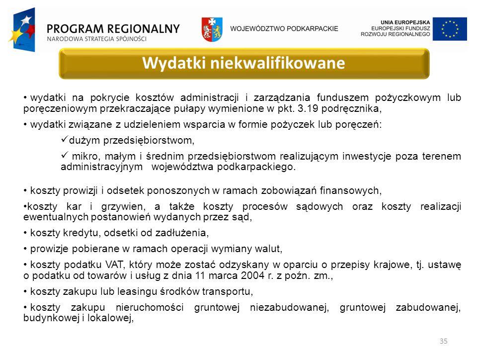 35 Wydatki niekwalifikowane wydatki na pokrycie kosztów administracji i zarządzania funduszem pożyczkowym lub poręczeniowym przekraczające pułapy wymienione w pkt.