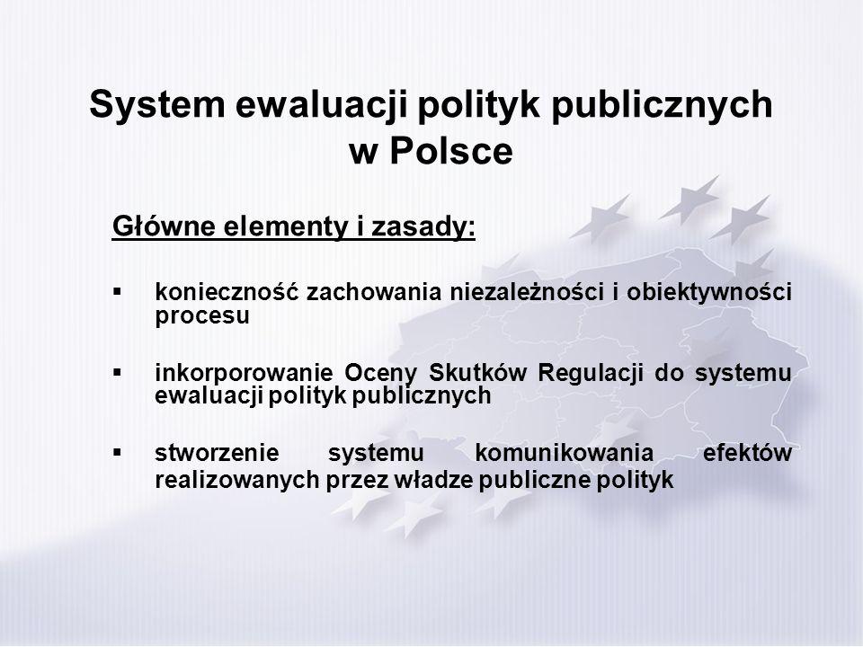 System ewaluacji polityk publicznych w Polsce Główne elementy i zasady: konieczność zachowania niezależności i obiektywności procesu inkorporowanie Oceny Skutków Regulacji do systemu ewaluacji polityk publicznych stworzenie systemu komunikowania efektów realizowanych przez władze publiczne polityk