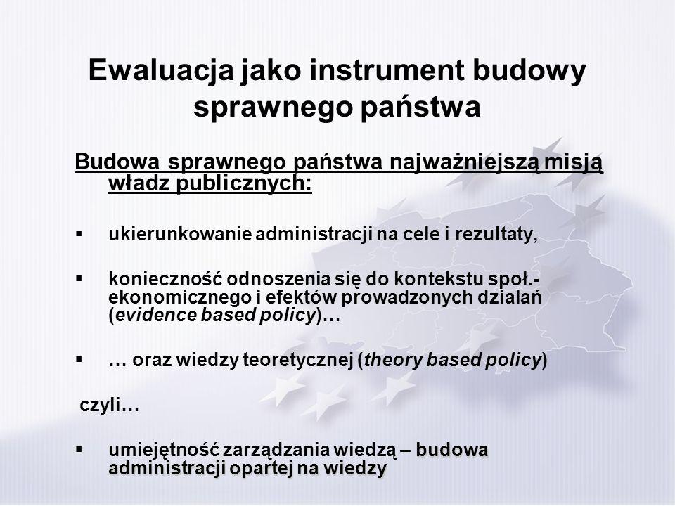 Ewaluacja jako instrument budowy sprawnego państwa Budowa sprawnego państwa najważniejszą misją władz publicznych: ukierunkowanie administracji na cel