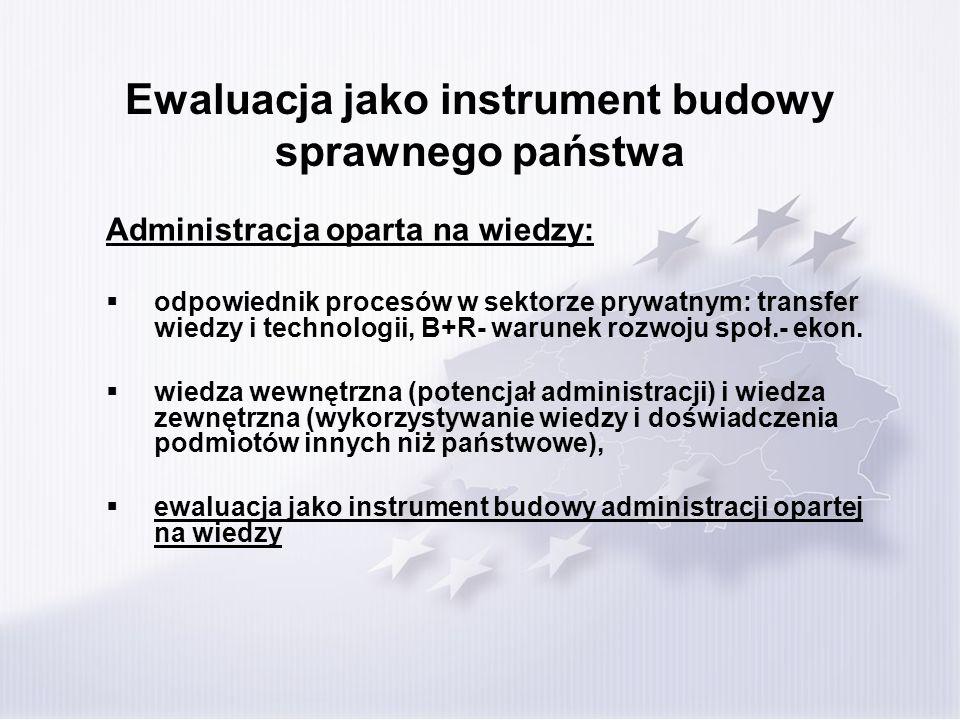 Ewaluacja jako instrument budowy sprawnego państwa Administracja oparta na wiedzy: odpowiednik procesów w sektorze prywatnym: transfer wiedzy i technologii, B+R- warunek rozwoju społ.- ekon.