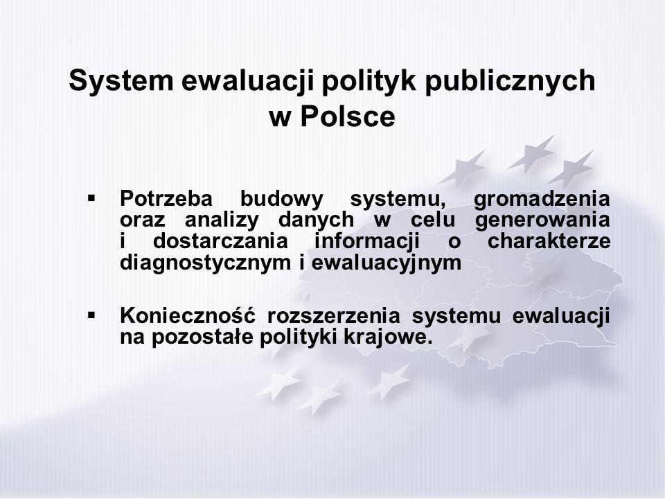 System ewaluacji polityk publicznych w Polsce Potrzeba budowy systemu, gromadzenia oraz analizy danych w celu generowania i dostarczania informacji o charakterze diagnostycznym i ewaluacyjnym Konieczność rozszerzenia systemu ewaluacji na pozostałe polityki krajowe.