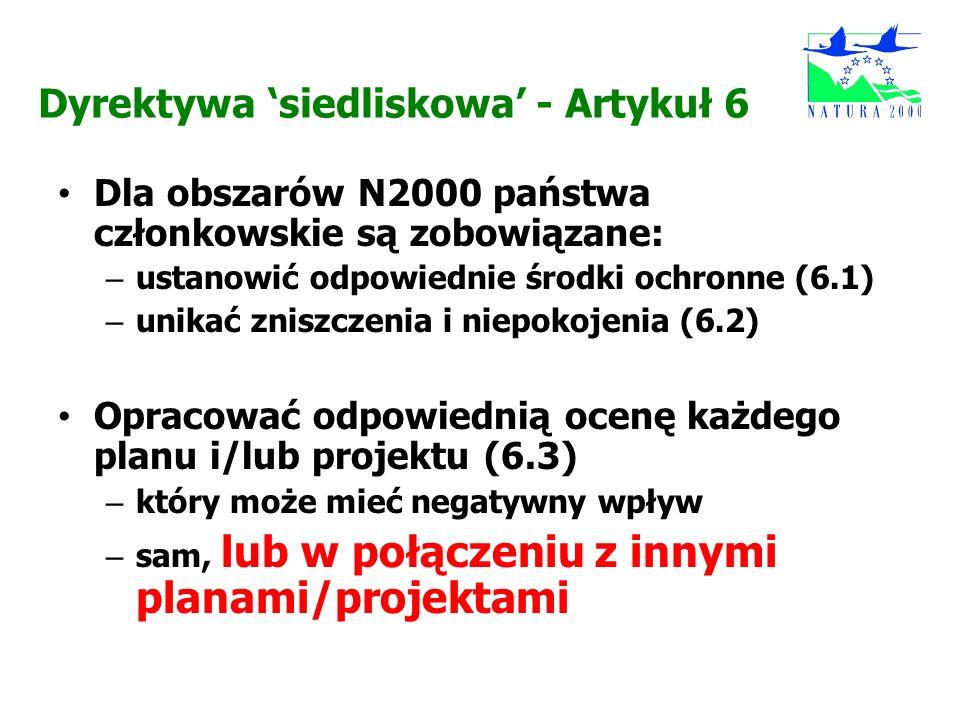 Dyrektywa siedliskowa - Artykuł 6 Dla obszarów N2000 państwa członkowskie są zobowiązane: – ustanowić odpowiednie środki ochronne (6.1) – unikać znisz