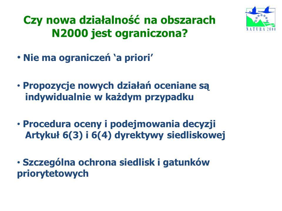 Czy nowa działalność na obszarach N2000 jest ograniczona? Nie ma ograniczeń a priori Propozycje nowych działań oceniane są indywidualnie w każdym przy