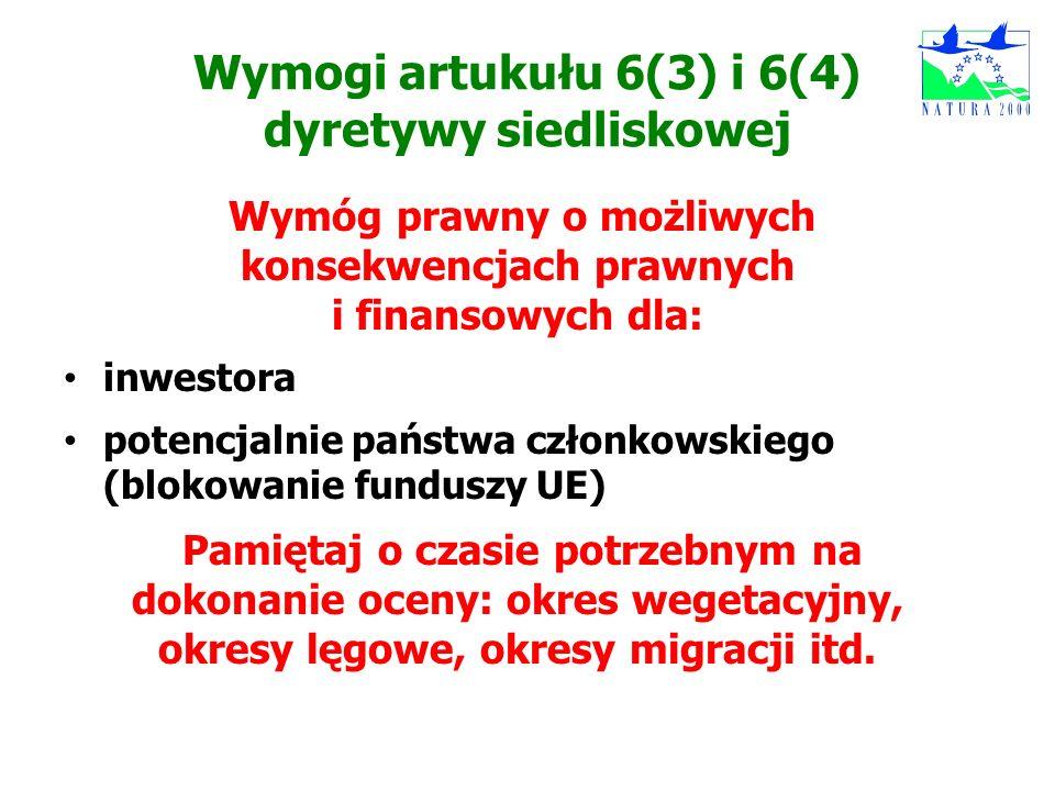 Wymogi artukułu 6(3) i 6(4) dyretywy siedliskowej Wymóg prawny o możliwych konsekwencjach prawnych i finansowych dla: inwestora potencjalnie państwa c