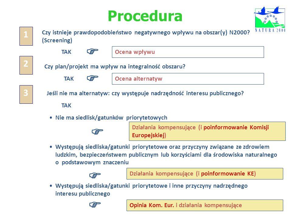 Procedura Czy istnieje prawdopodobieństwo negatywnego wpływu na obszar(y) N2000? (Screening) TAK Ocena wpływu 1 Czy plan/projekt ma wpływ na integraln