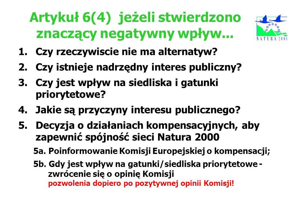Artykuł 6(4)jeżeli stwierdzono znaczący negatywny wpływ... 1.Czy rzeczywiscie nie ma alternatyw? 2.Czy istnieje nadrzędny interes publiczny? 3.Czy jes