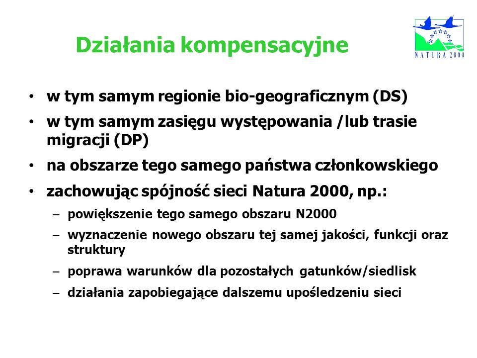 Działania kompensacyjne w tym samym regionie bio-geograficznym (DS) w tym samym zasięgu występowania /lub trasie migracji (DP) na obszarze tego samego
