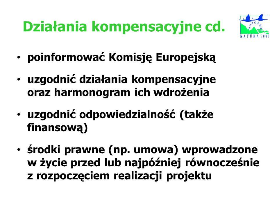 Działania kompensacyjne cd. poinformować Komisję Europejską uzgodnić działania kompensacyjne oraz harmonogram ich wdrożenia uzgodnić odpowiedzialność