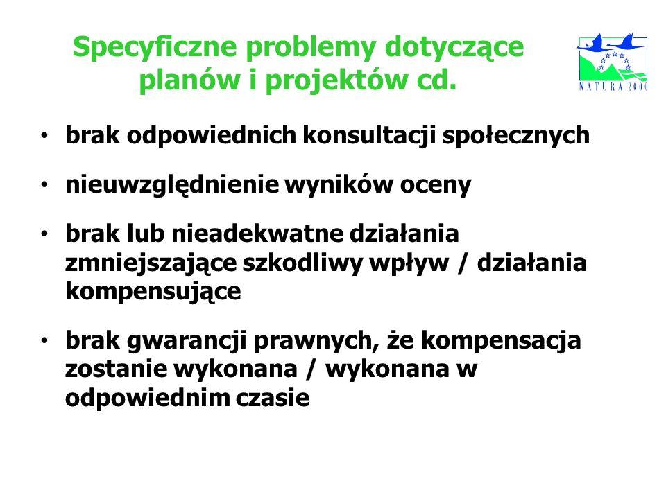 Specyficzne problemy dotyczące planów i projektów cd. brak odpowiednich konsultacji społecznych nieuwzględnienie wyników oceny brak lub nieadekwatne d