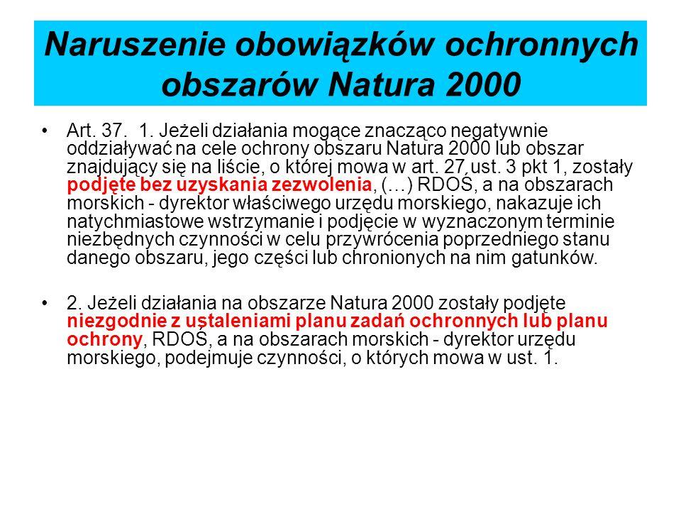 Naruszenie obowiązków ochronnych obszarów Natura 2000 Art. 37. 1. Jeżeli działania mogące znacząco negatywnie oddziaływać na cele ochrony obszaru Natu