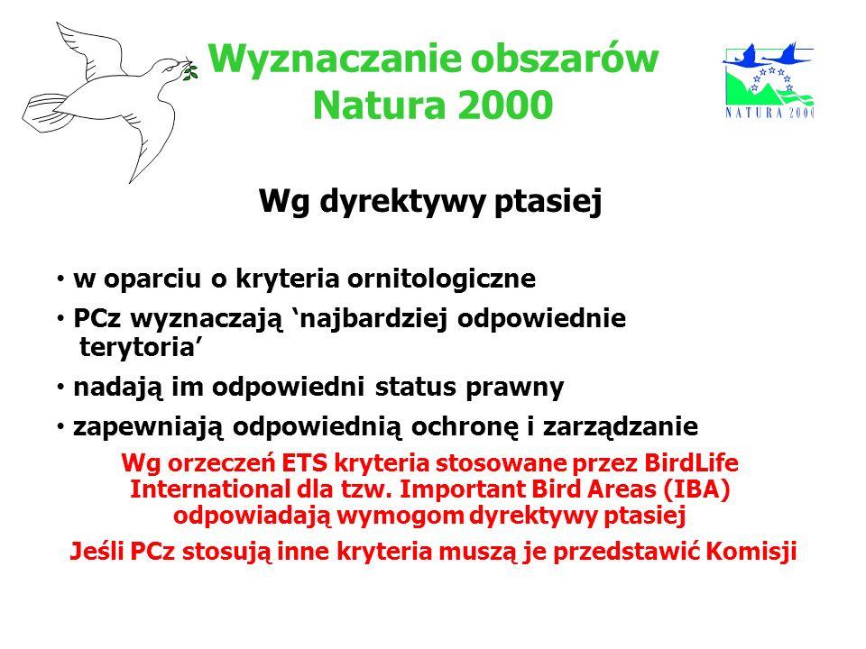 Wyznaczanie obszarów Natura 2000 Wg dyrektywy ptasiej w oparciu o kryteria ornitologiczne PCz wyznaczają najbardziej odpowiednie terytoria nadają im o