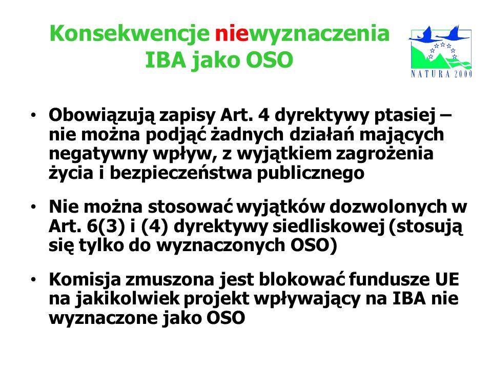 Konsekwencje niewyznaczenia IBA jako OSO Obowiązują zapisy Art. 4 dyrektywy ptasiej – nie można podjąć żadnych działań mających negatywny wpływ, z wyj