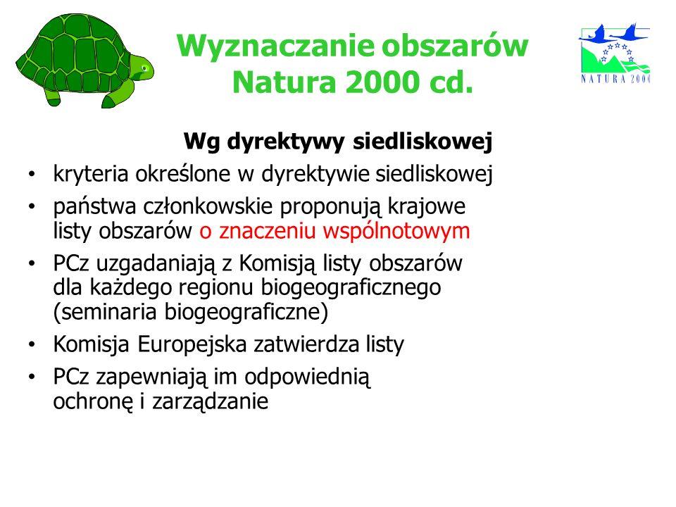 Wyznaczanie obszarów Natura 2000 cd. Wg dyrektywy siedliskowej kryteria określone w dyrektywie siedliskowej państwa członkowskie proponują krajowe lis