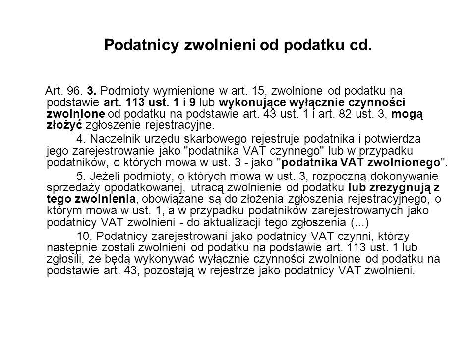 Podatnicy zwolnieni od podatku cd. Art. 96. 3. Podmioty wymienione w art. 15, zwolnione od podatku na podstawie art. 113 ust. 1 i 9 lub wykonujące wył