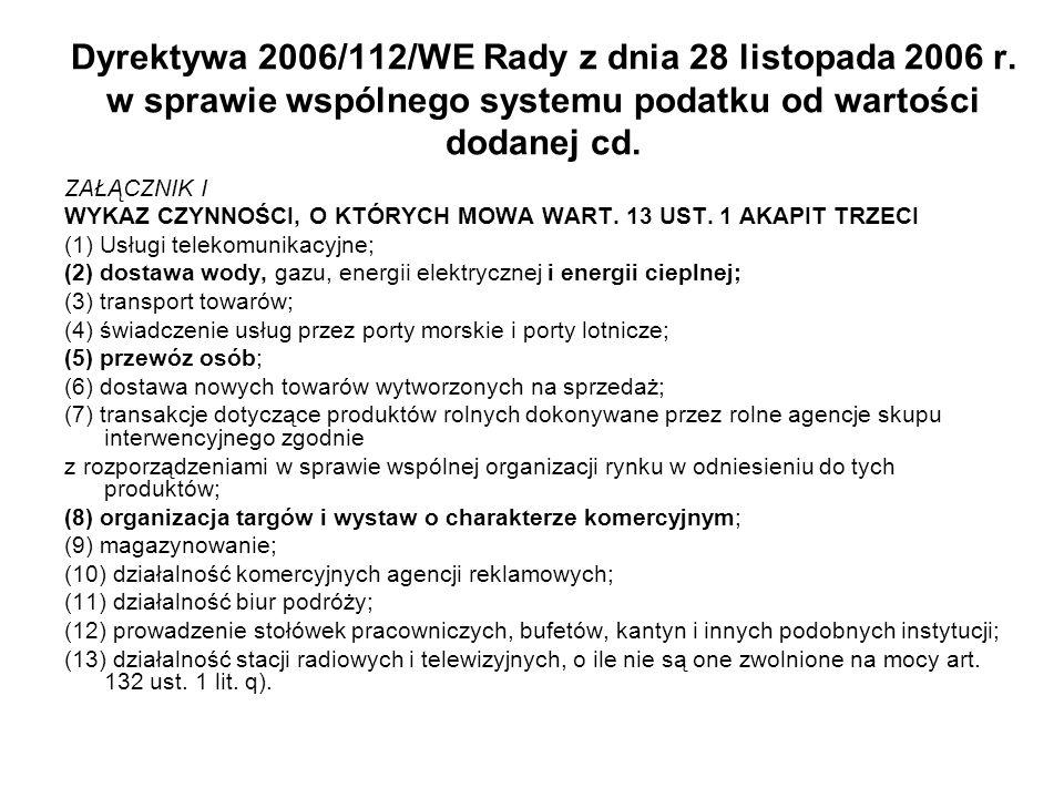 Dyrektywa 2006/112/WE Rady z dnia 28 listopada 2006 r. w sprawie wspólnego systemu podatku od wartości dodanej cd. ZAŁĄCZNIK I WYKAZ CZYNNOŚCI, O KTÓR