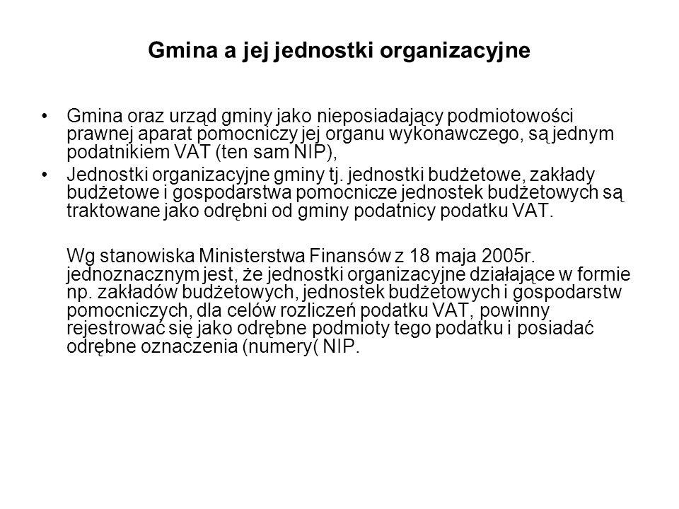 Gmina a jej jednostki organizacyjne Gmina oraz urząd gminy jako nieposiadający podmiotowości prawnej aparat pomocniczy jej organu wykonawczego, są jed
