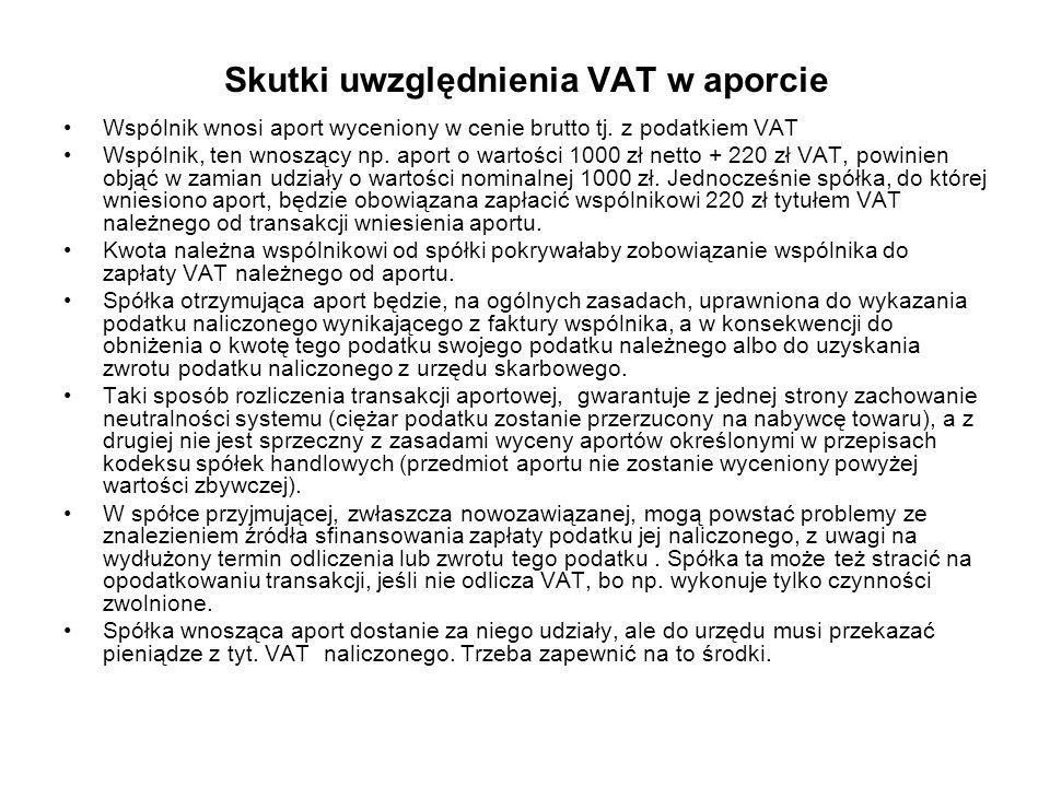 Skutki uwzględnienia VAT w aporcie Wspólnik wnosi aport wyceniony w cenie brutto tj. z podatkiem VAT Wspólnik, ten wnoszący np. aport o wartości 1000