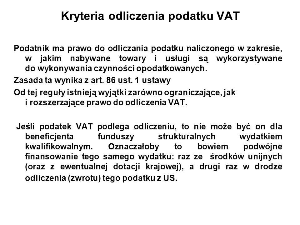 Kryteria odliczenia podatku VAT Podatnik ma prawo do odliczania podatku naliczonego w zakresie, w jakim nabywane towary i usługi są wykorzystywane do