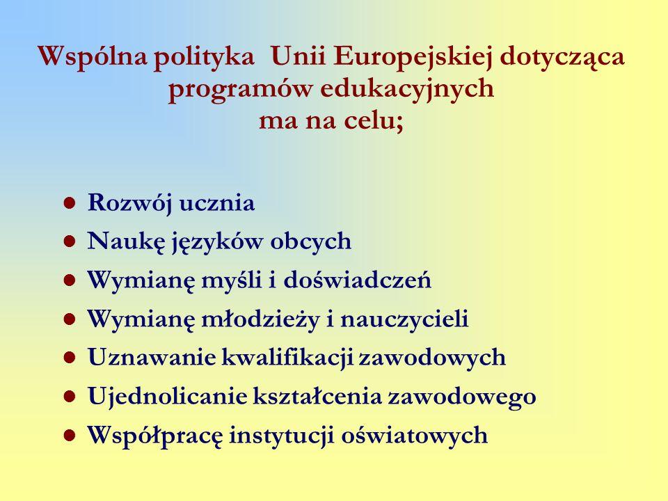Wspólna polityka Unii Europejskiej dotycząca programów edukacyjnych ma na celu; Rozwój ucznia Naukę języków obcych Wymianę myśli i doświadczeń Wymianę