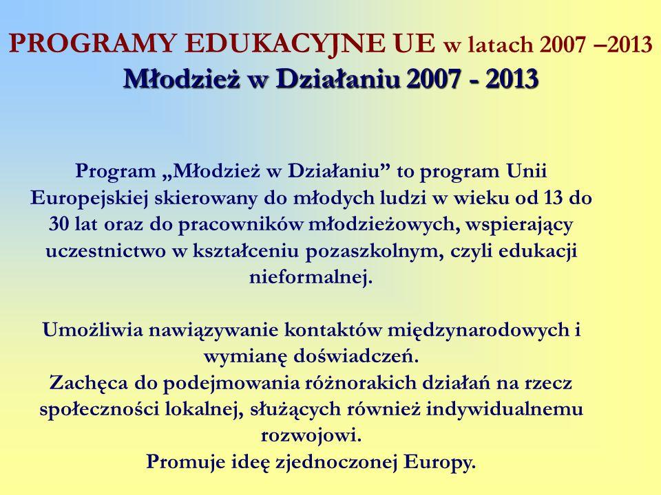 Program Młodzież w Działaniu to program Unii Europejskiej skierowany do młodych ludzi w wieku od 13 do 30 lat oraz do pracowników młodzieżowych, wspie