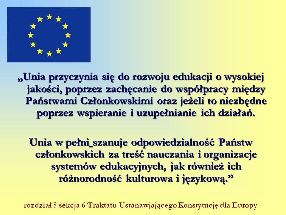 Unia przyczynia się do rozwoju edukacji o wysokiej jakości, poprzez zachęcanie do współpracy między Państwami Członkowskimi oraz jeżeli to niezbędne p