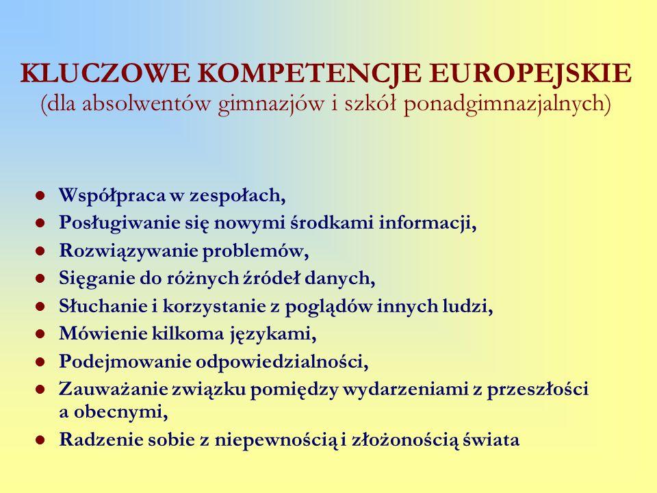 KLUCZOWE KOMPETENCJE EUROPEJSKIE (dla absolwentów gimnazjów i szkół ponadgimnazjalnych) Współpraca w zespołach, Posługiwanie się nowymi środkami infor